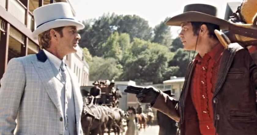 "The late Luke Perry (left) and Timothy Olyphant in a deleted scene from Quentin Tarantino's Oscar-nominated ""Once Upon a Time ... in Hollywood."""