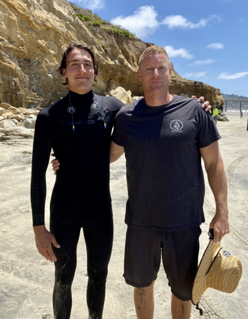 Jack Barone (left) and Neil Garrett worked together to save a 10-year-old girl from possible drowning at La Jolla Shores.