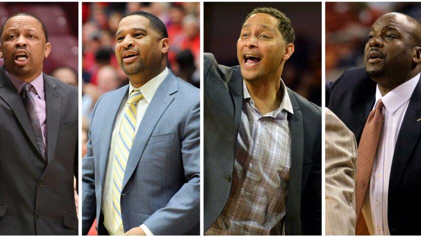 A combination photo shows coaches Lamont Evans, Emanuel Richardson, Tony Bland and Chuck Person