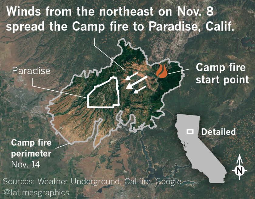 Winds from the northeast on Nov. 8 spread the Camp fire to Paradise, Calif