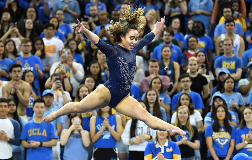 UCLA gymnast Katelyn Ohashi gets a perfect score on the floor exercise at a March collegiate meet.