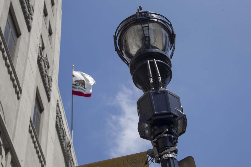 A smart streetlamp in downtown San Diego on Friday August 2, 2019 that cameras, antennas and other instruments.