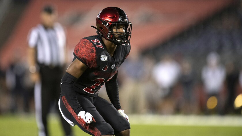 San Diego State safety Kyree Woods during game against Utah State on Sept. 21, 2019.