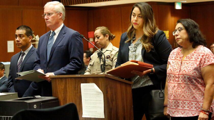 LOS ANGELES, CA – OCTOBER 24, 2017: Los Angeles school board member Ref Rodriguez, left, appears w
