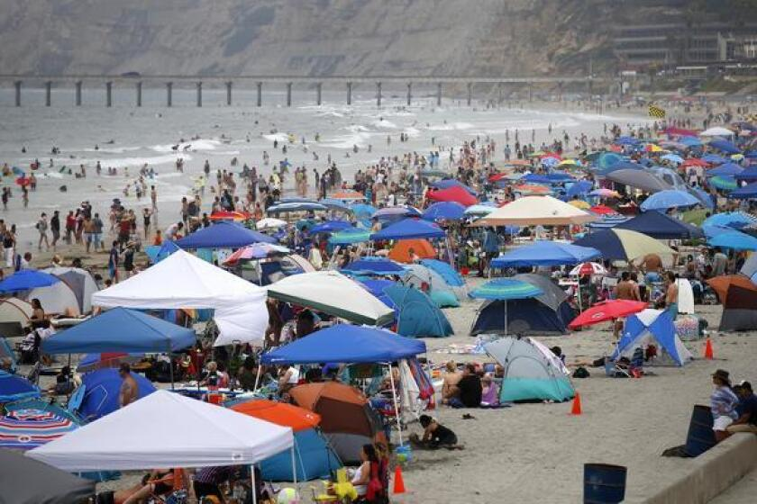 Thousands of beach goers lined the San Diego coast at La Jolla Shores as temperatures soared inland during 2019 Labor Day weekend.