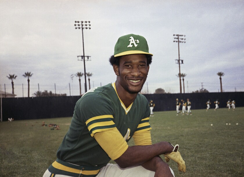 FILE - This 1975 file photo shows Oakland A's outfielder Claudell Washington. Washington, a two-time All-Star outfielder who played 17 seasons in the majors after being called up as a teenager in Oakland, died Wednesday, June 10, 2020. He was 65. (AP Photo/Robert H. Houston, File)