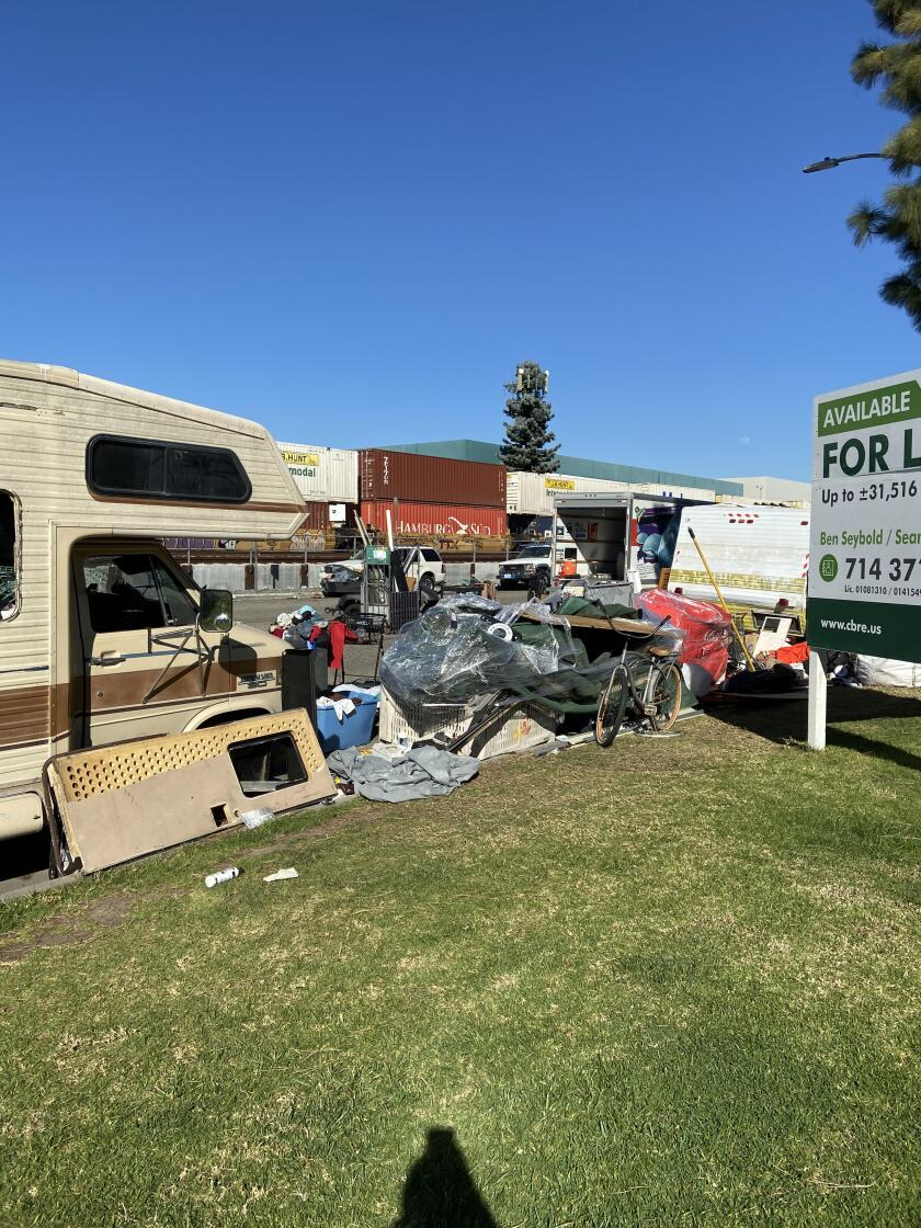 Several RVs parked on Valencia Drive in Fullerton before they were cleared out.
