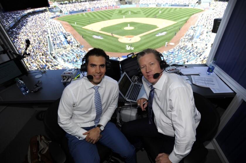 Dodgers broadcasters Joe Davis and Orel Hershiser on 2017 opening day.