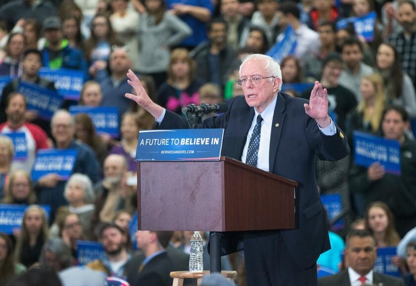 Bernie Sanders, the senator from Vermont, speaks at a rally in Warren, Mich.