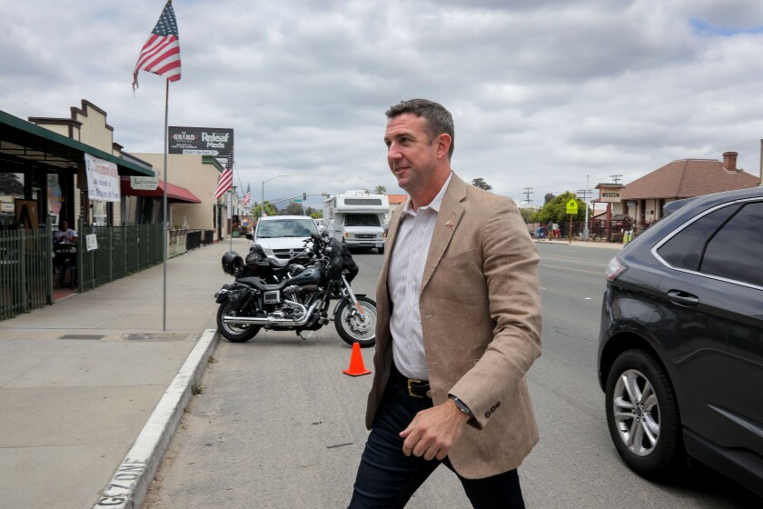 Rep. Duncan Hunter arrives in Ramona on May 25 for a town hall meeting with constituents. He was joined on stage by his father, former Rep. Duncan L. Hunter