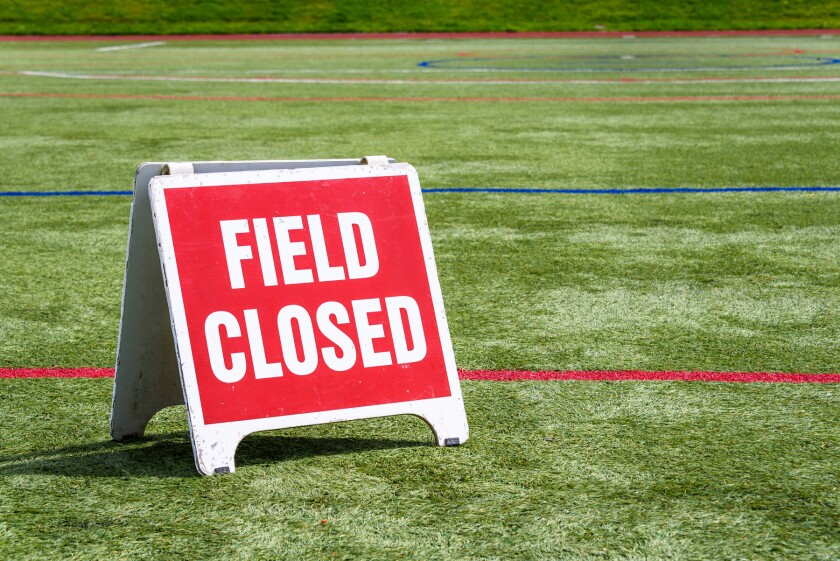 field with closed sign