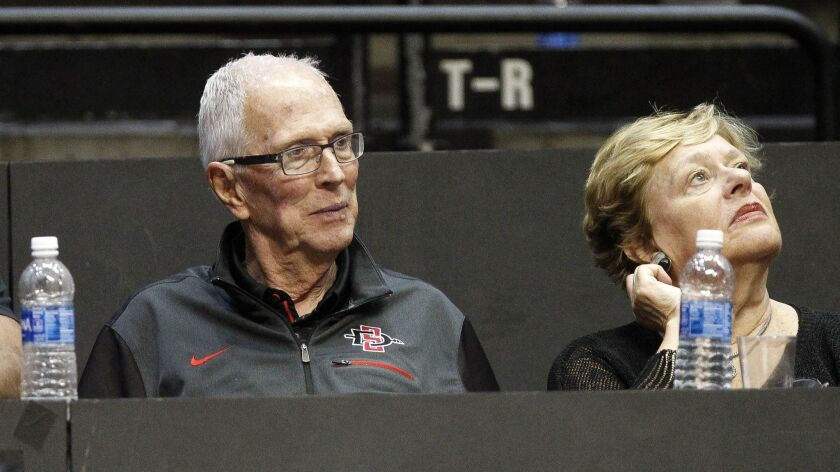 SAN DIEGO, November 2, 2017 | Aztecs former coach Steve Fisher watches the Aztecs play UC San Diego