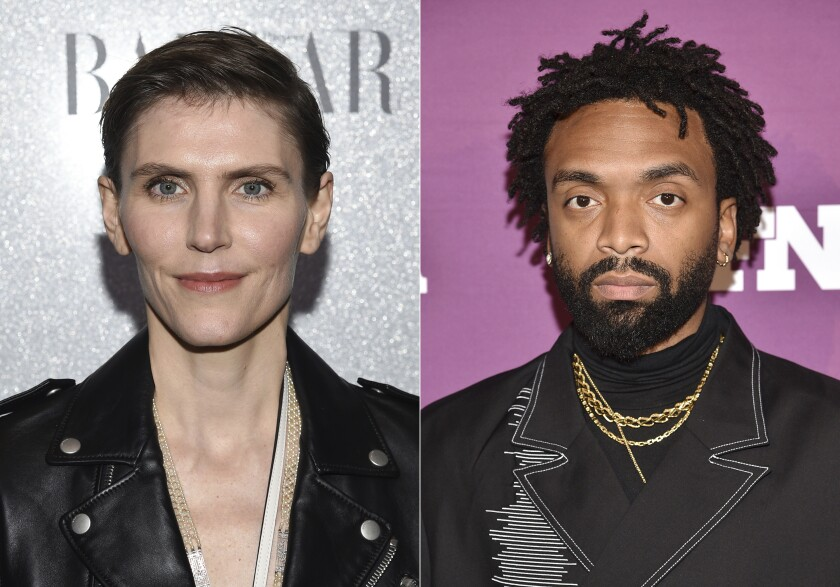 This combination photo shows designer Gabriela Hearst at the Lincoln Center Corporate Fund fashion gala honoring Coach in New York on Nov. 29, 2018, left, and Pyer Moss designer Kerby Jean-Raymond at the 2019 Footwear News Achievement Awards in New York on Dec. 3, 2019. The Council of Fashion Designers of America (CFDA) announced Hearst as American Womenswear Designer of the Year and Jean-Raymond as American Menswear Designer of the Year for the 2020 CFDA Fashion Awards. (Photos by Evan Agostini/Invision/AP)