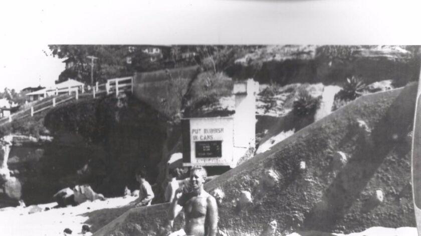 Lifeguard Fran Blankenship at La Jolla Cove, 1946