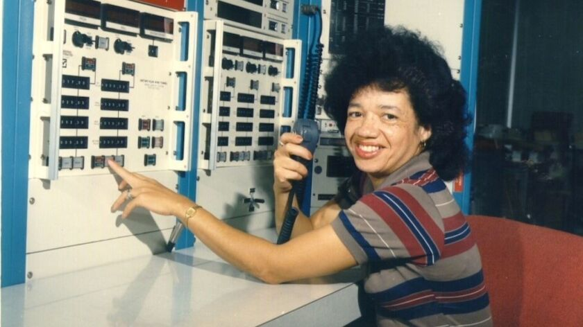 "Christine Darden, a retired aeronautical engineer and former ""computer,"" in the control room of NASA Langley's Unitary Plan Wind Tunnel in 1975."