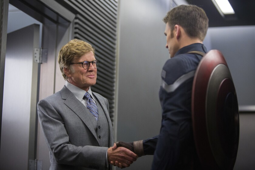 "Robert Redford and Chris Evans in ""Captain America: The Winter Soldier."""