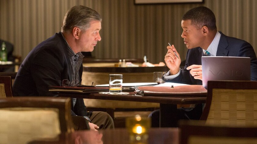 """Alec Baldwin, left, and Will Smith in """"Concussion"""" on Starz."""