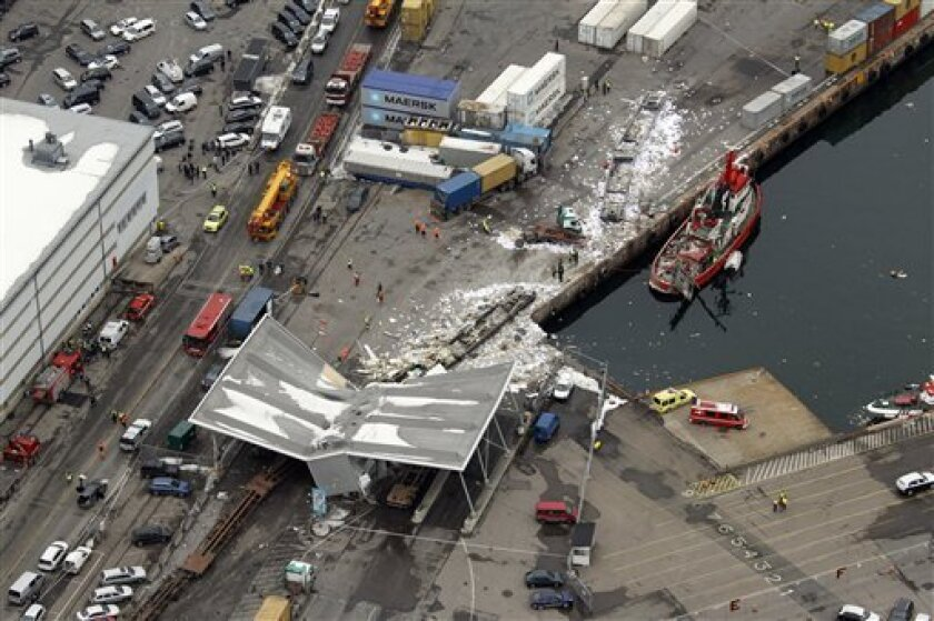 This is an aerial view of the crash scene after sixteen empty railway cars broke loose from a cargo train and crashed into an Oslo port terminal at high speed Wednesday, March 24, 2010. The runaway train cars accelerated as they rolled downhill for about 3 miles (5 kilometers) before slamming into the terminal on the edge of the Oslo fjord, where some of them fell into the water, police and railroad officials said. (AP Photo/Lise Åserud, Scanpix)