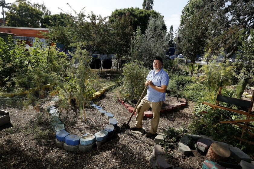 David Egeler, a teacher in the environmental studies magnet at Thomas Starr King Middle School, stands in the school's central garden on Aug. 31.