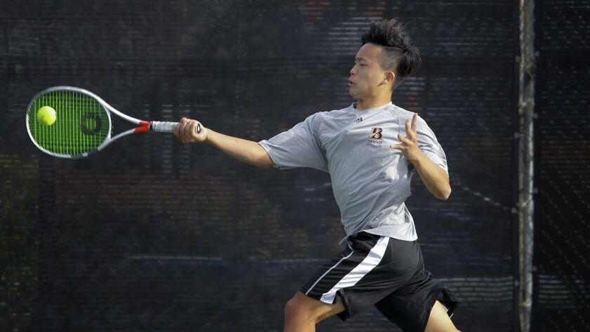 From the Bishop's School in La Jolla, Matthew Mu during a recent tennis match played in San Diego.