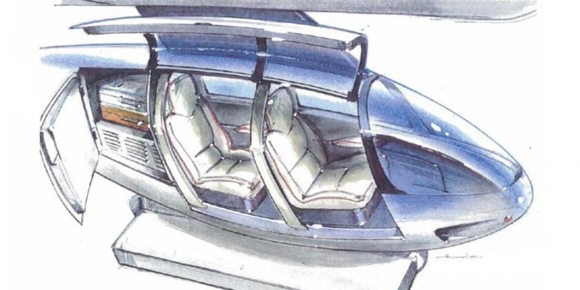 El SkyTran es un sistema de pequeñas cápsulas de maglev automatizadas que funcionan en carriles elevados,