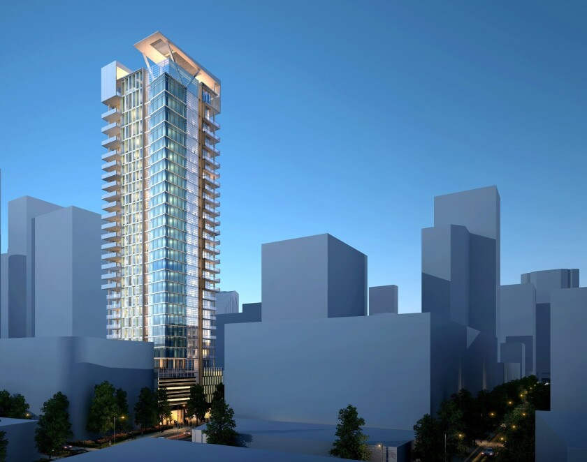 A 37-story condo tower for 1201 S. Grand Ave. is proposed in downtown Los Angeles. The building was designed by Richard Keating, the L.A. architect credited with designing Gas Co. Tower.