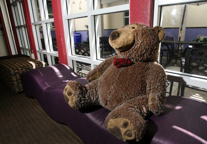 A teddy bear in the visitation room at the A.B. and Jessie Polinsky Children's Center in San Diego.