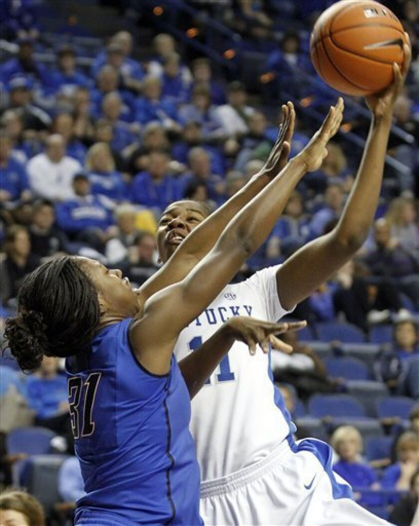 Kentucky's DeNesha Stallworth, right, shoots under pressure from DePaul's Jasmine Penny during the first half of an NCAA college basketball game at Rupp Arena in Lexington, Ky., Friday, Dec. 7, 2012. Kentucky won 96-64. (AP Photo/James Crisp)
