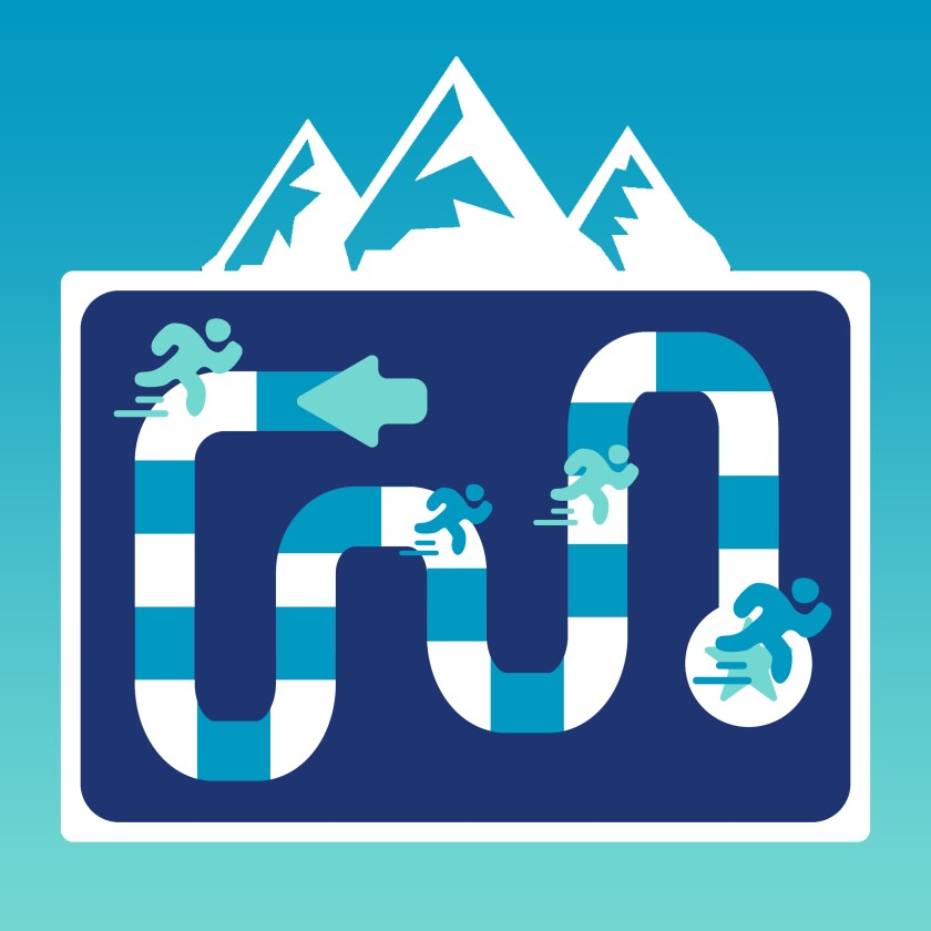 Pictogram of a running-influenced board game with an illustrated mountain above.