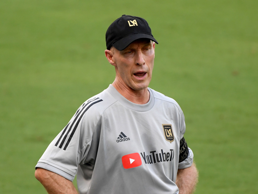 LAFC coach Bob Bradley on the sidelines during a game.