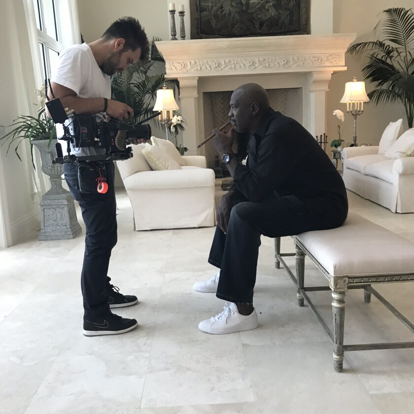 """The filmmakers completed extensive interviews with Michael Jordan and other members of the Bulls' championship teams for ESPN's """"The Last Dance."""""""