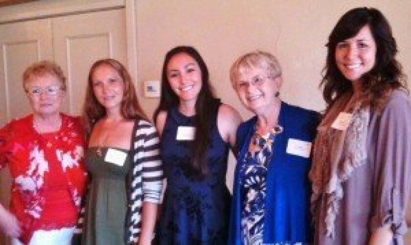 L-R: Barbara Bladen, AAUW Branch Scholarship Chairwoman; Heather Owens and Alyssa Martinez, scholarship recipients; Fran Miller, AAUW Branch President; Megan Rice, scholarship recipient. Missing: Heather Cody, scholarship recipient. courtesy photo