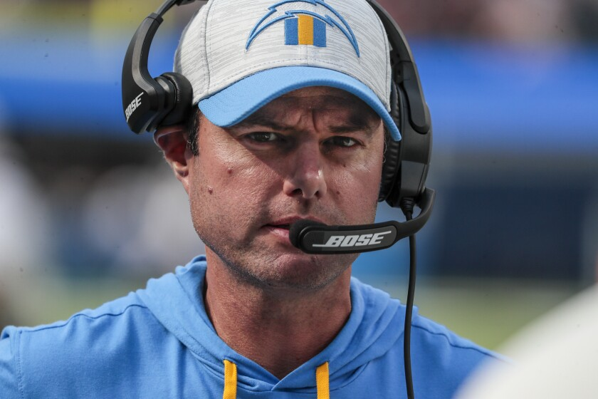 Chargers coach Brandon Staley roams the sidelines.