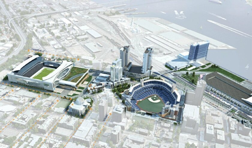 This architectural rendering shows a 2014 proposal by JMI Realty for a joint-use NFL stadium and convention center in downtown's East Village.