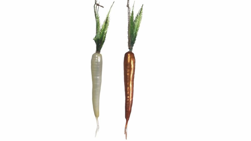 LOS ANGELES, CA., NOVEMBER 17, 2017--Christmas Ornaments for 2017 - GLASS CARROTS - The trend of foo
