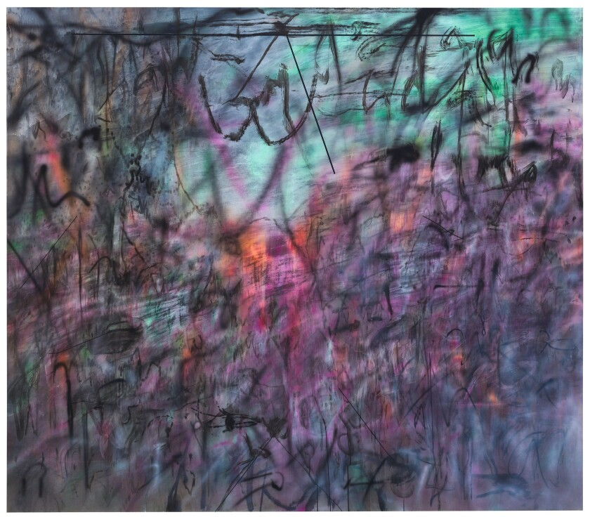 "Julie Mehretu, ""Conjured Parts (eye), Ferguson,"" 2016, ink and acrylic on canvas."