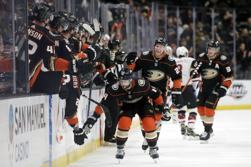 Ducks center Adam Henrique celebrates after scoring his second goal against the Coyotes during the first period of a game Jan. 29 at Honda Center.