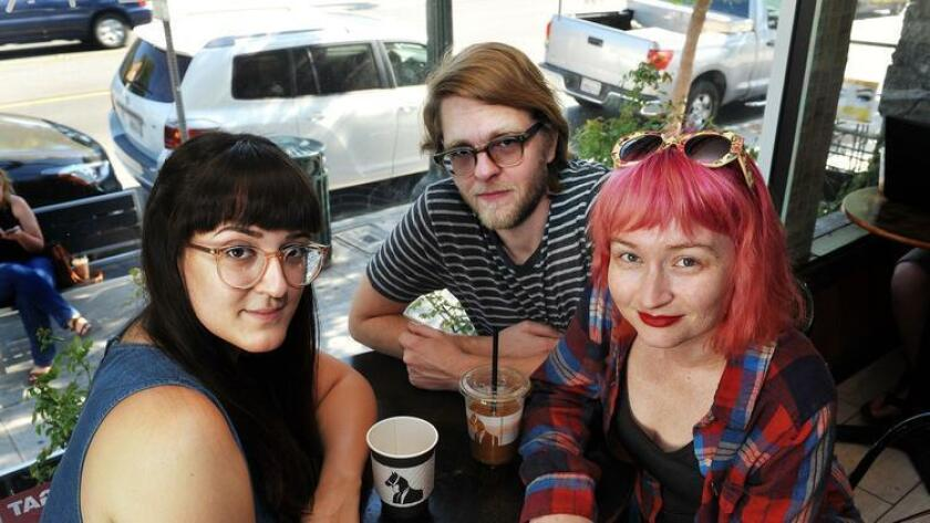 07.07.2016 -- Members of Soft Lions gather at Dark Horse Coffee Roasters in Normal Heights. They are (l-r) Ana Ramundo, Jon Bonser and Megan Liscomb. (Rick Nocon/ For The San Diego Union-Tribune) (For The San Diego Union-Tribune)