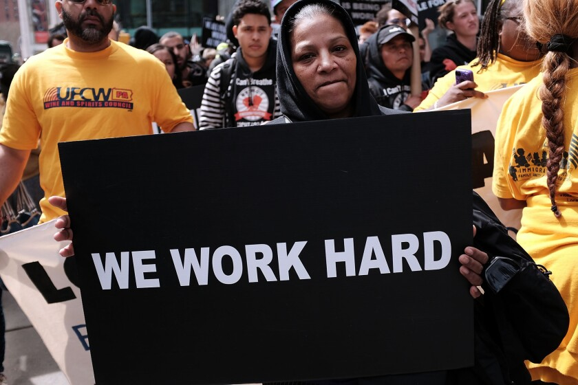 Low-wage workers marched for a higher minimum wage in New York last month.