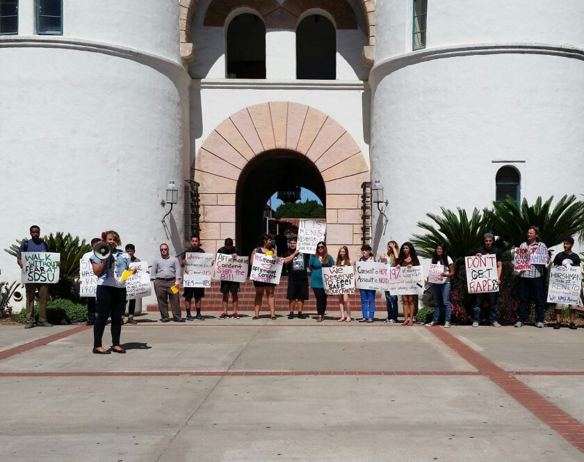 Students at San Diego State University staged a lunchtime protest on campus Sept. 25, 2014, after three students reported being sexually assaulted in a month.