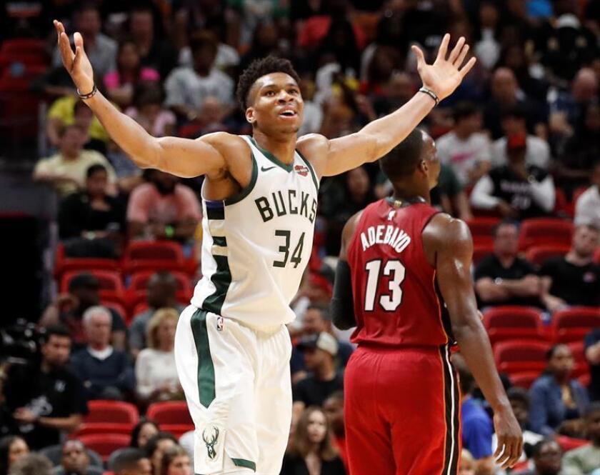 El griego Giannis Antetokounmpo tuvo 27 tantos para los Bucks de Milwaukee, que ganaron la División Central al derrotar 116-87 a los Heat de Miami. EFE