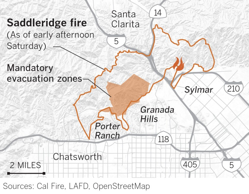 The L.A. Fire Department has established these evacuation zones for the Saddleridge fire near Sylmar. They are current as of 1:30 p.m. on Oct. 12.