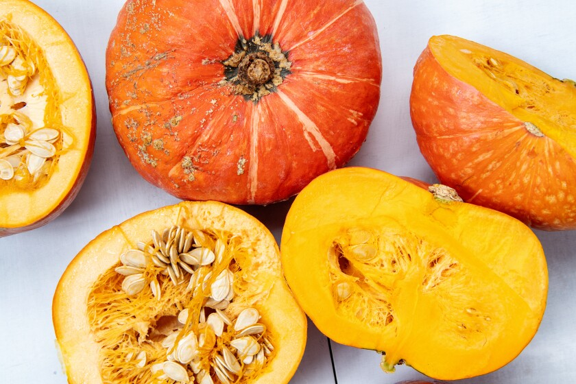 Split sugar pumpkins and kabocha squash