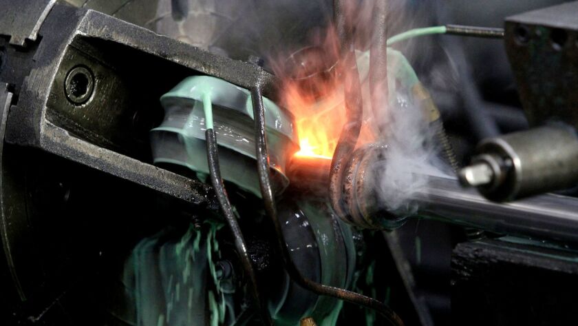 VERNON, CA., JULY 14, 2014, -- Hannibal Steel in Vernon is a fabricator of steel tubing that winds