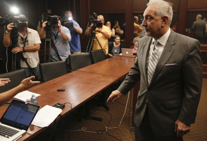 LOS ANGELES ,CA., OCTOBER 15, 2015: Attorney Mark Geragos, representing fired teacher Rafe Esquith
