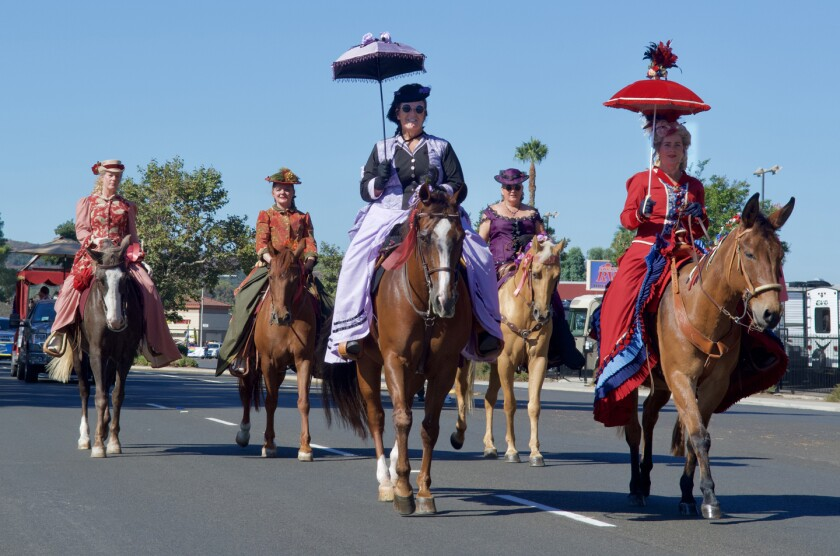 The Victorian Rose Ladies Riding Society was among equestrian units participating in the 2019 Poway Rotary Parade.
