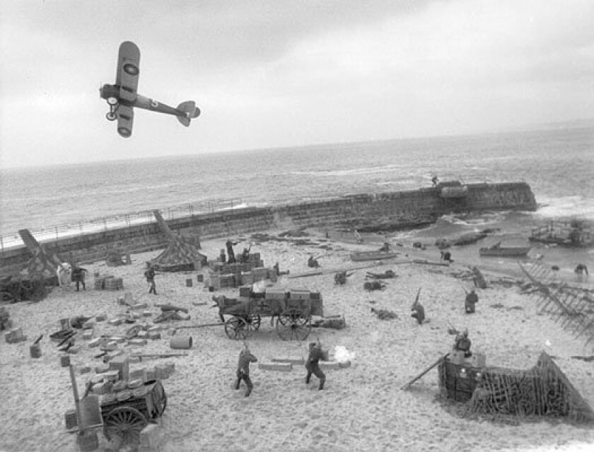 "World War I aircraft is used at the La Jolla Children's Pool during filming for the movie ""Stunt Man"" starring Peter O'Toole on Nov. 5, 1977."