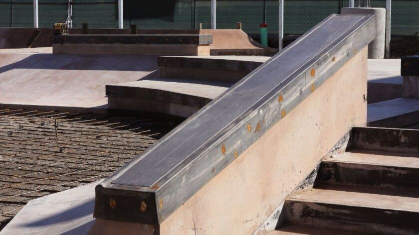 Detail view of a ramp at one of the two skate parks under construction along N. Santa Fe Avenue.