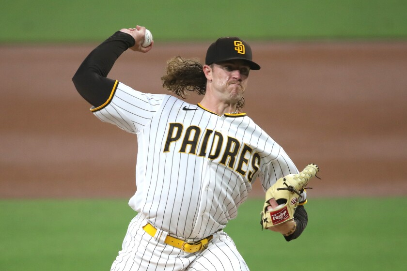 Chris Paddack pitches during the second inning of Friday's game against the Mariners.