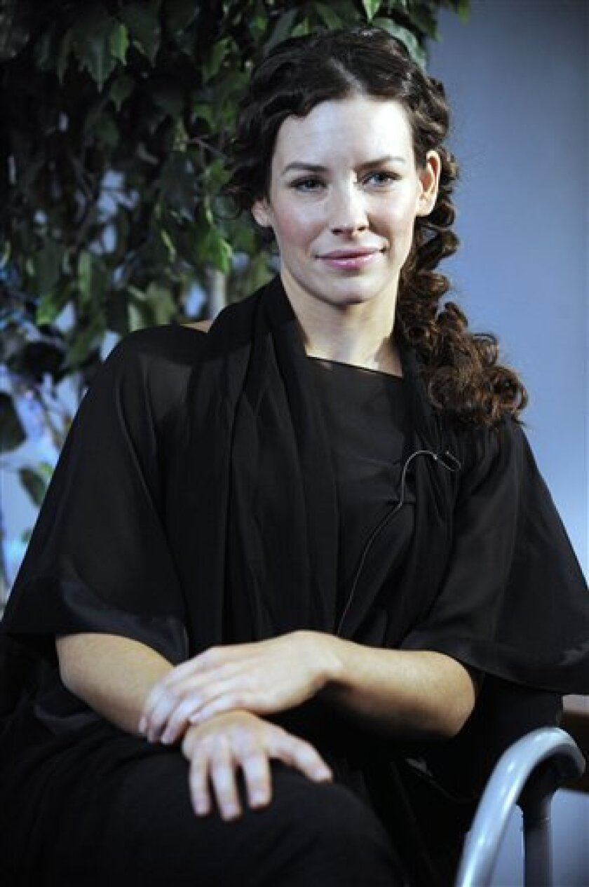 """Evangeline Lilly, who plays Kate on the """"Lost"""" television program, is interviewed in New York, Tuesday Jan. 27, 2009. (AP Photo/Richard Drew)"""
